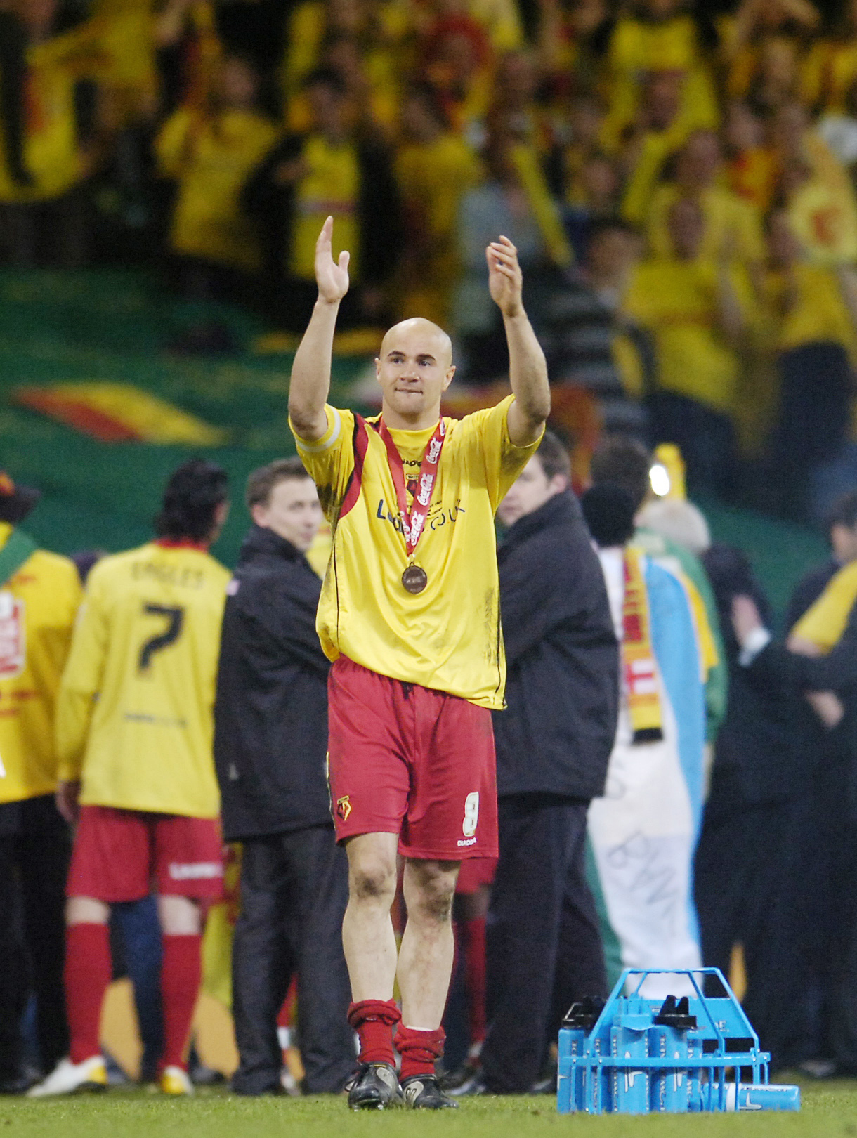 Gavin Mahon celebrates Watford's play-off triumph in Cardiff. Picture: Action Images