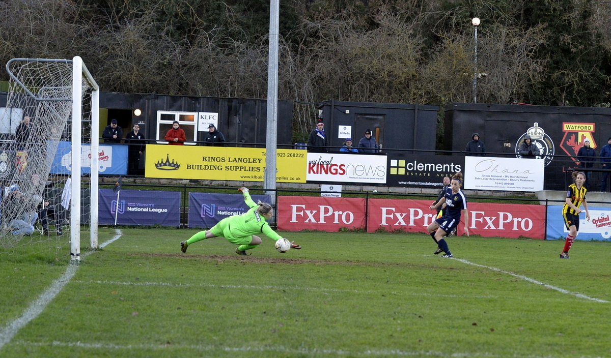 The decisive moment: Katie O'Leary fires home Watford Ladies' winner. Picture: Len Kerswill