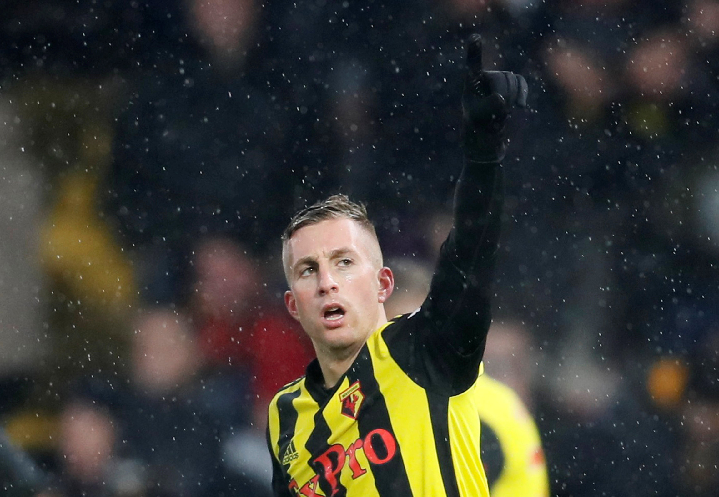 Star performer Gerard Deulofeu celebrates opening the scoring. Pictures: Action Images