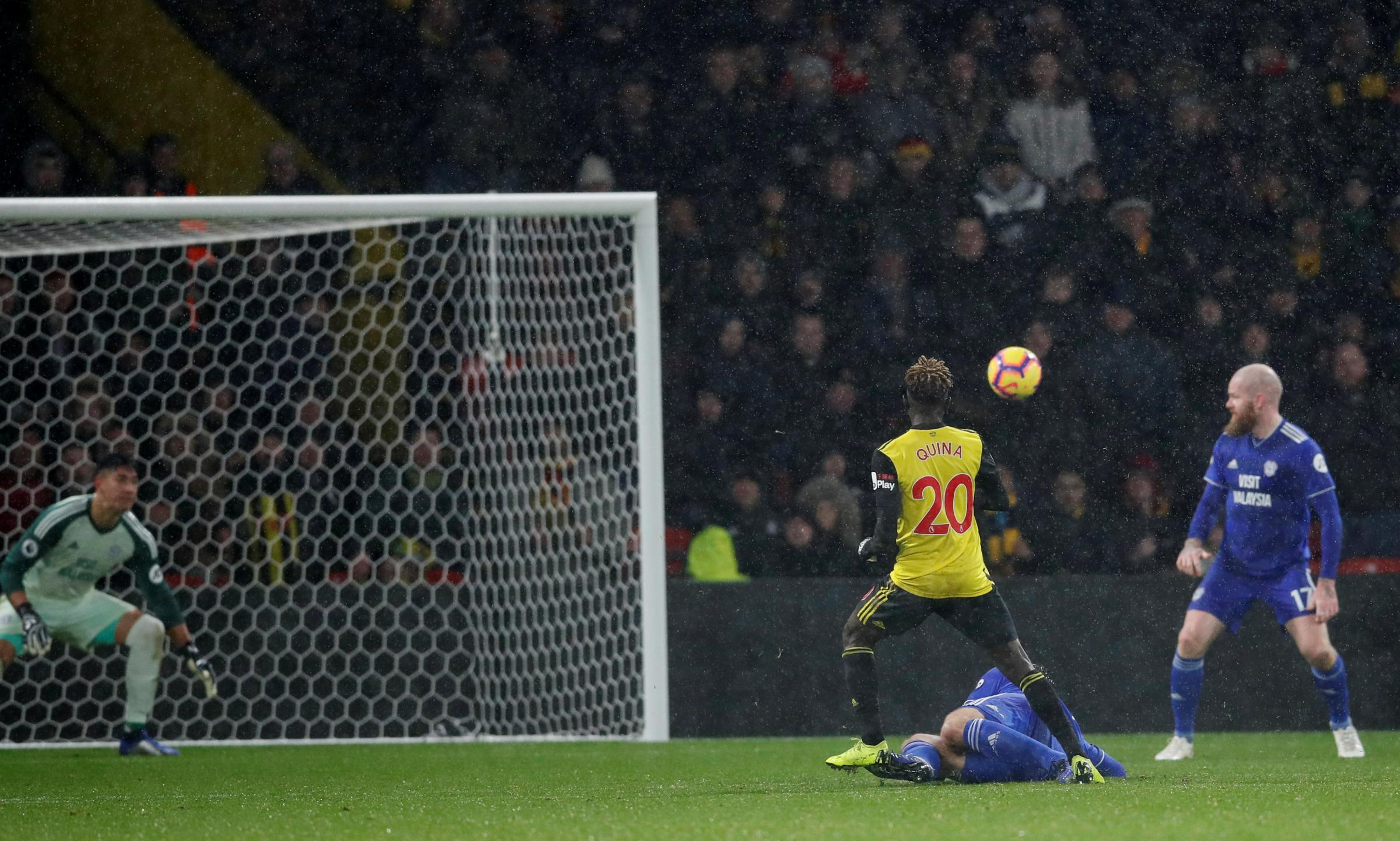 Domingos Quina curls his superb effort beyond Neil Etheridge to score Watford's third goal on Saturday. Picture: Action Images
