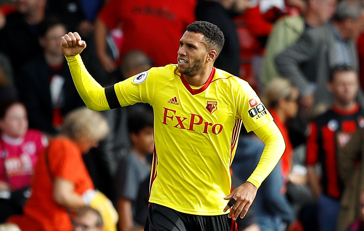 Etienne Capoue celebrates scoring in Watford's 2-0 win at Bournemouth last season. Picture: Action Images