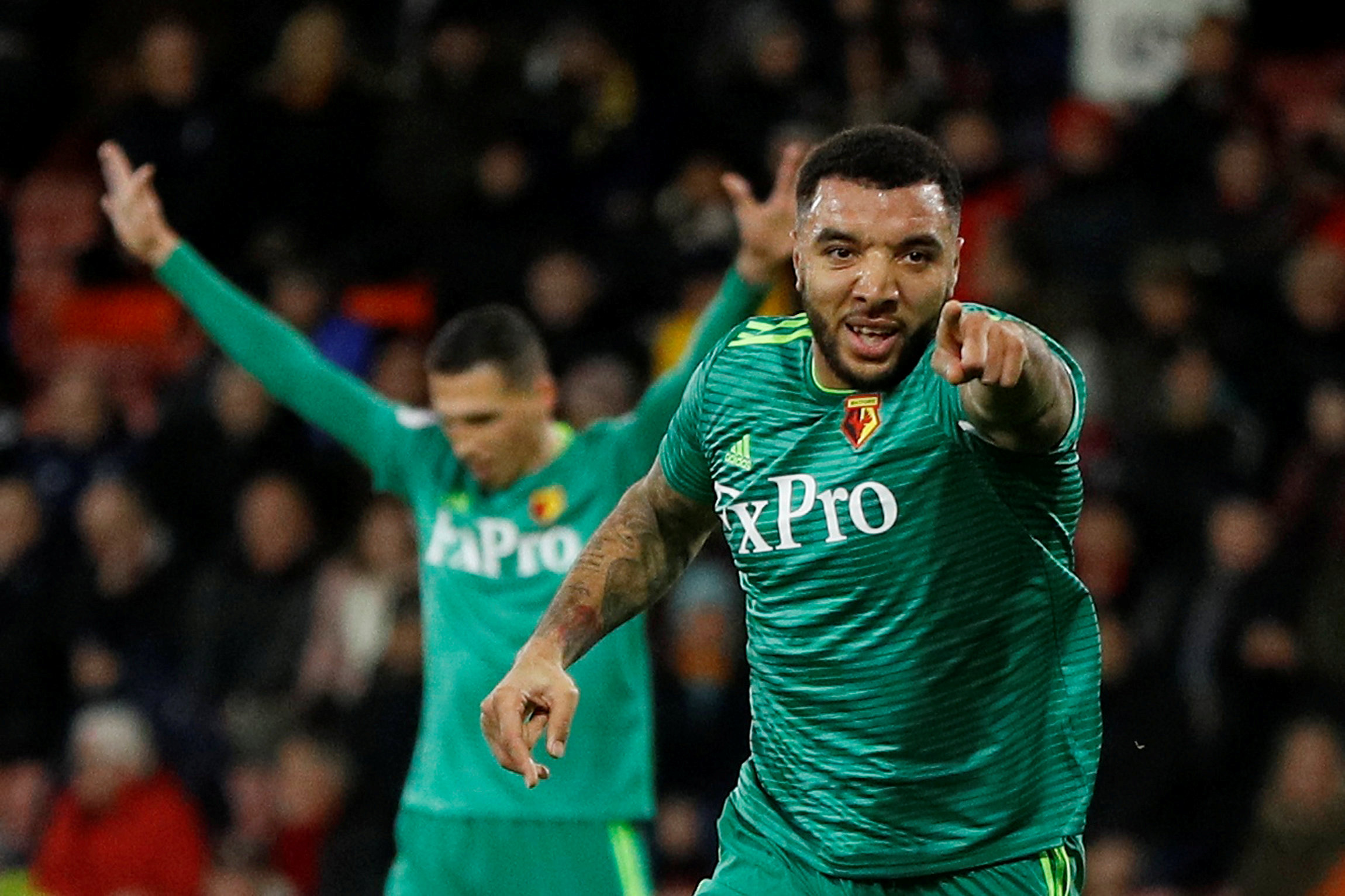 Troy Deeney scored twice during an impressive display at the Vitality Stadium. Picture: Action Images