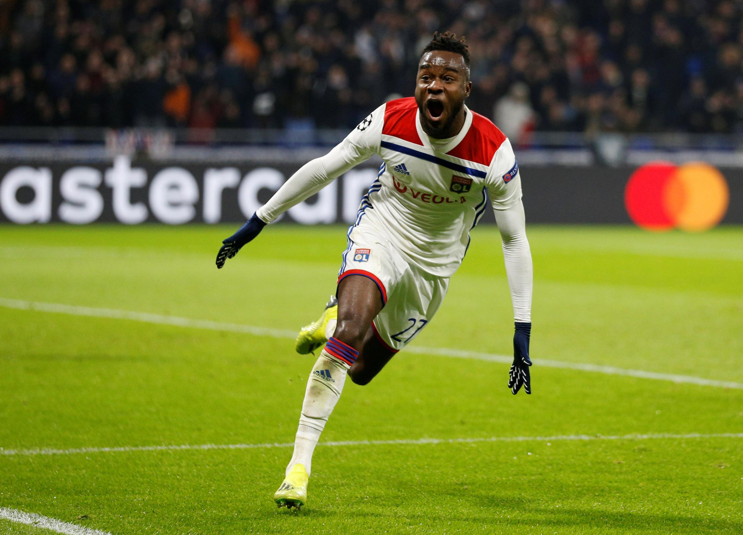 Maxwel Cornet celebrates scoring against Manchester City in the Champions League. Picture: Action Images