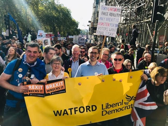 Cllr Ian Stotesbury (centre) on an anti-Brexit march
