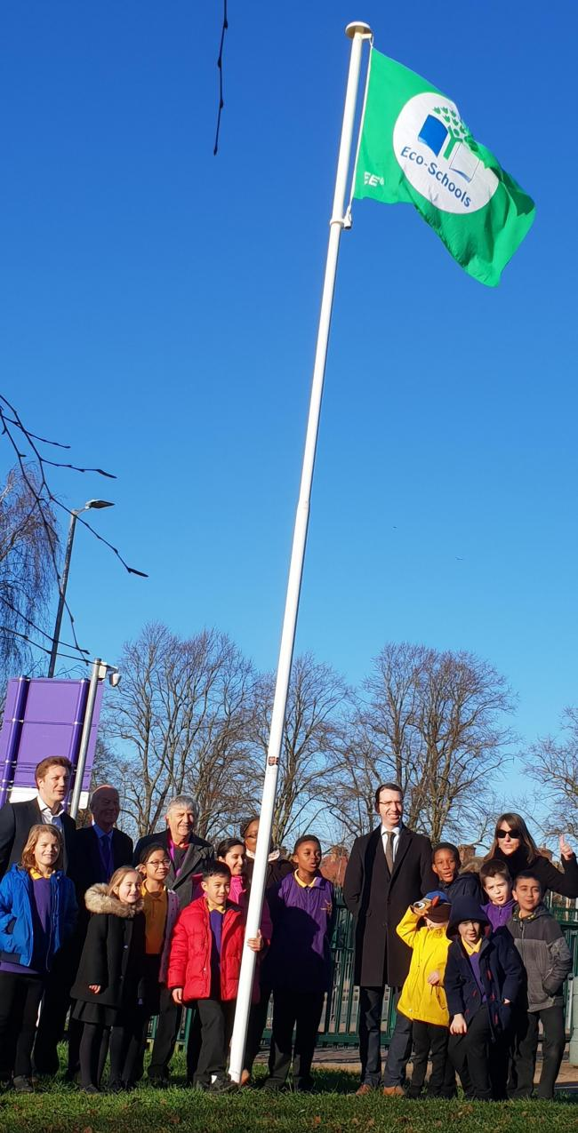Pupils at Laurance Haines pictured with the Mayor of Watford and their green flag