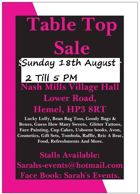 TABLE TOP SALE (ALL SELLERS WELCOME)