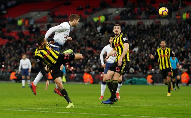 Fernando Llorente heads Spurs' winner. Picture: Action Images