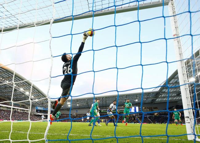 Ben Foster's superb second-half save to keep out a Jurgen Locadia header. Picture: Action Images