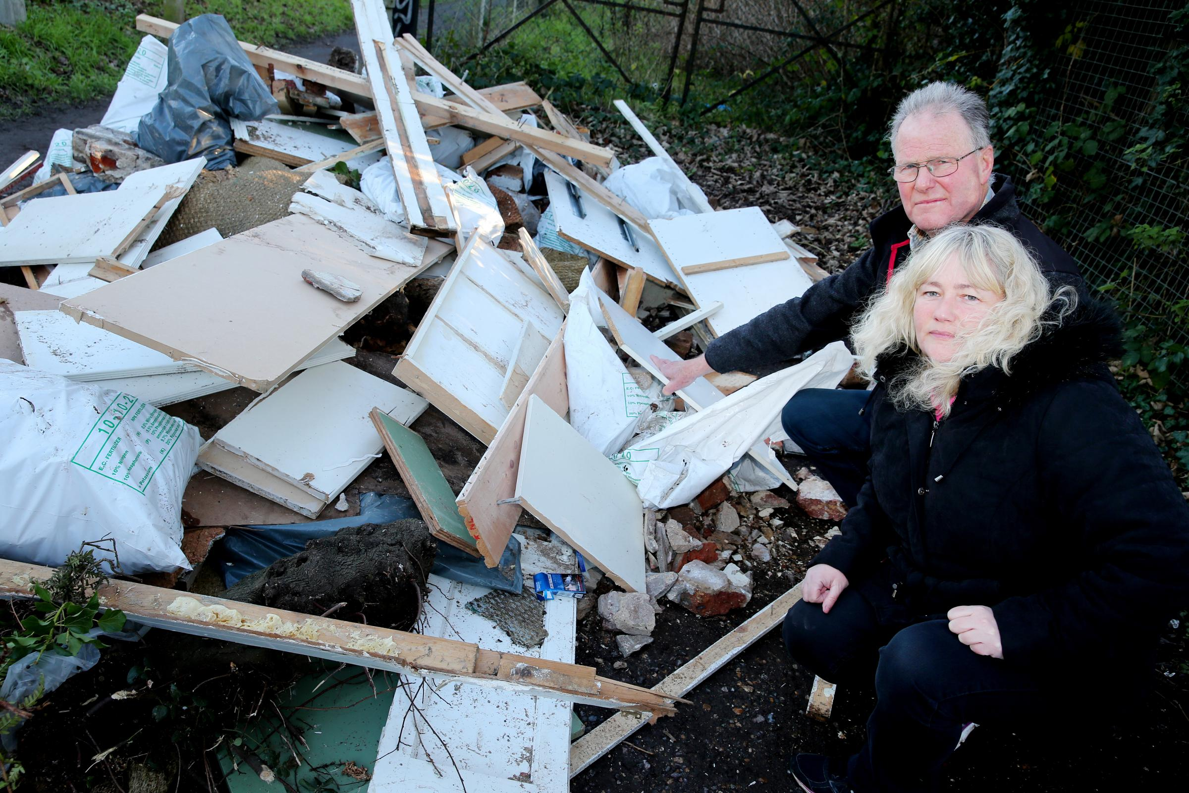 03P17..Fly tipping - off Eastbury Road..Tracy Hubbard & Andrew Scarth...