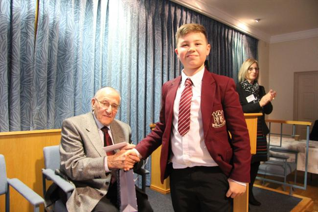 Manfred Goldberg pictured with Kings Langley Schoolpupil Romeyo De Santis