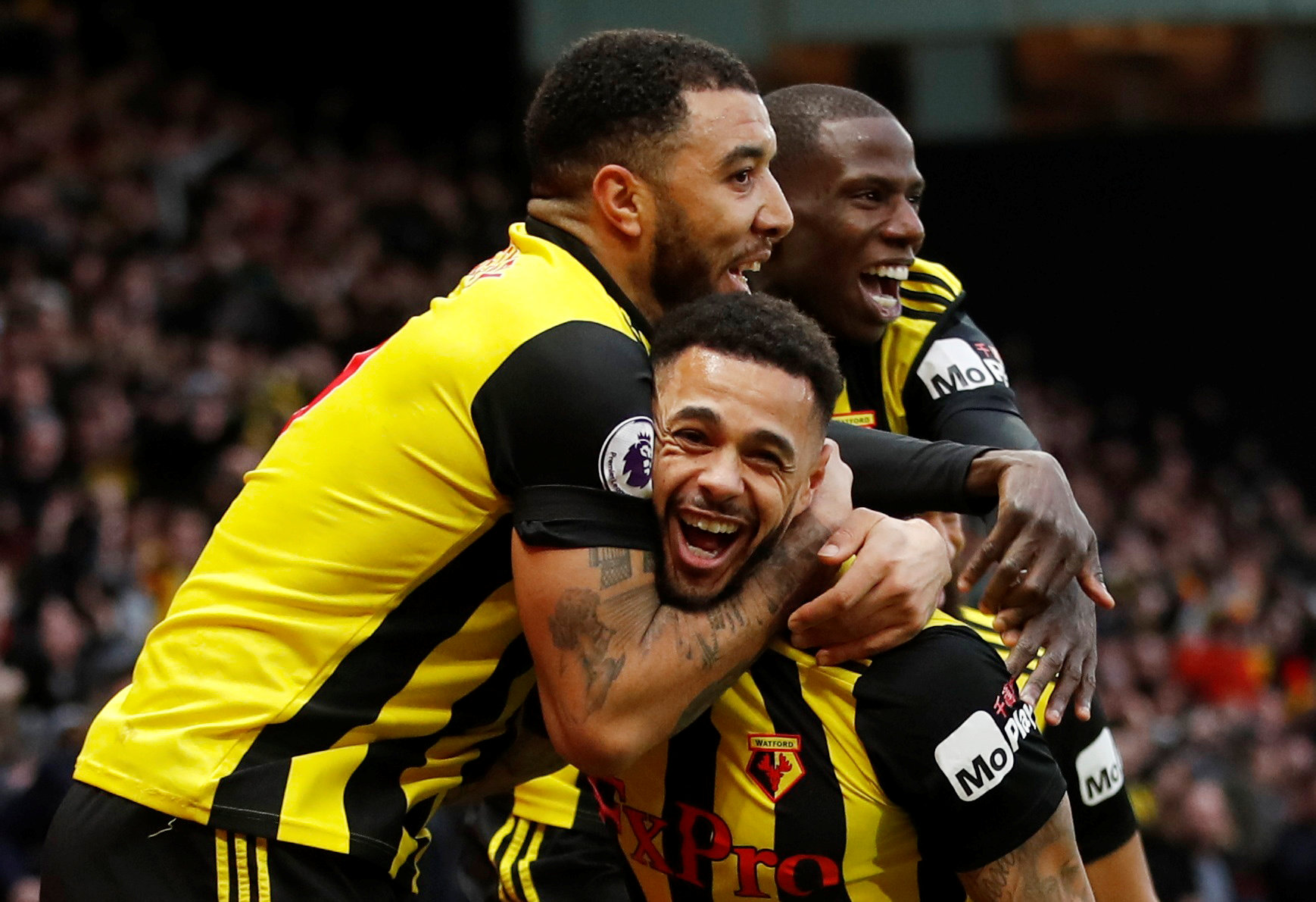 A jubilant Andre Gray celebrates his winner. Picture: Action Images