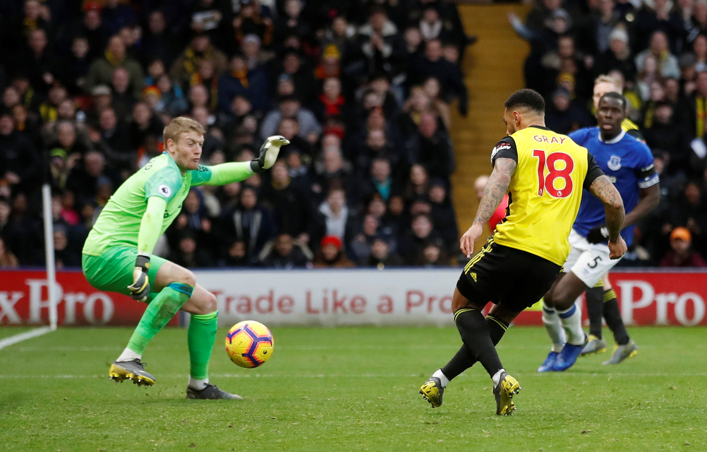 Andre Gray scores the winner. Picture: Action Images