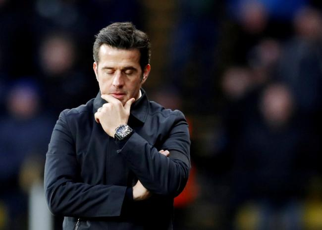 Under mounting pressure: a downcast Marco Silva during yesterday's defeat. Picture: Action Images