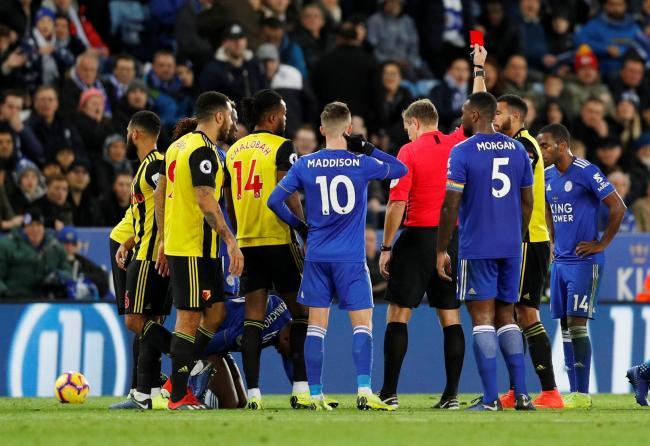 Graham Scott sends off Etienne Capoue at Leicester last season. Picture: Action Images