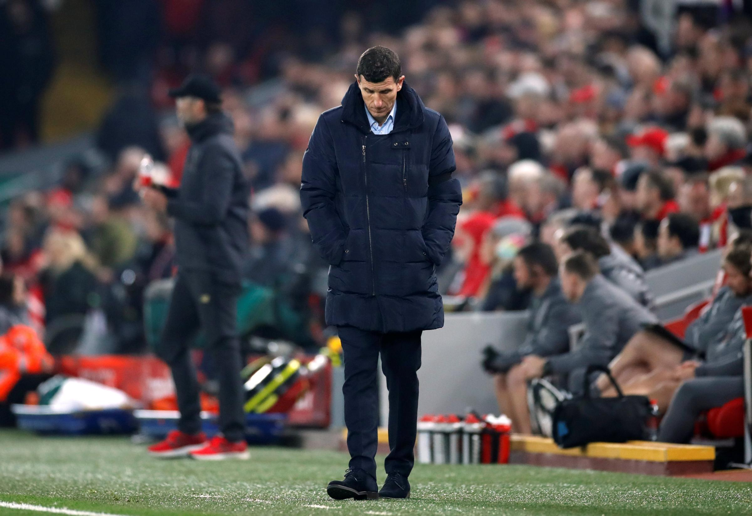Javi Gracia supports his players after Liverpool loss. Picture: Action Images