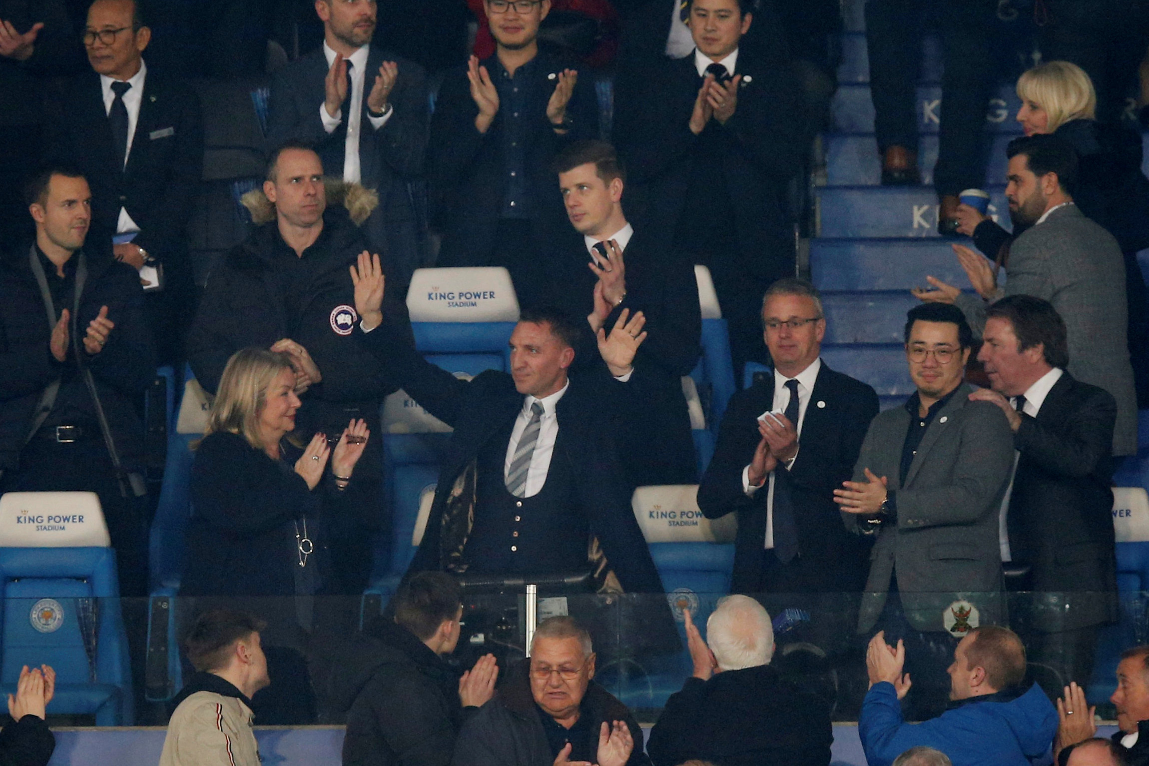 Brendan Rodgers watched on from the stands as he new club beat Leicester on Tuesday night. Picture: Action Images
