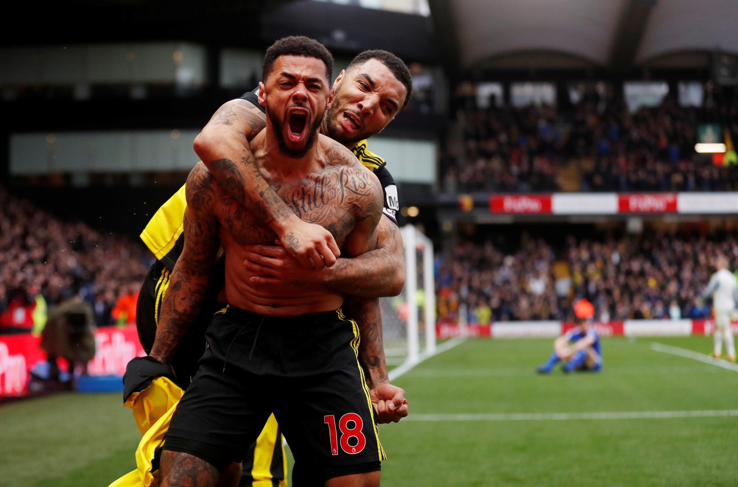 Troy Deeney celebrates with Andre Gray. Picture: Action Images