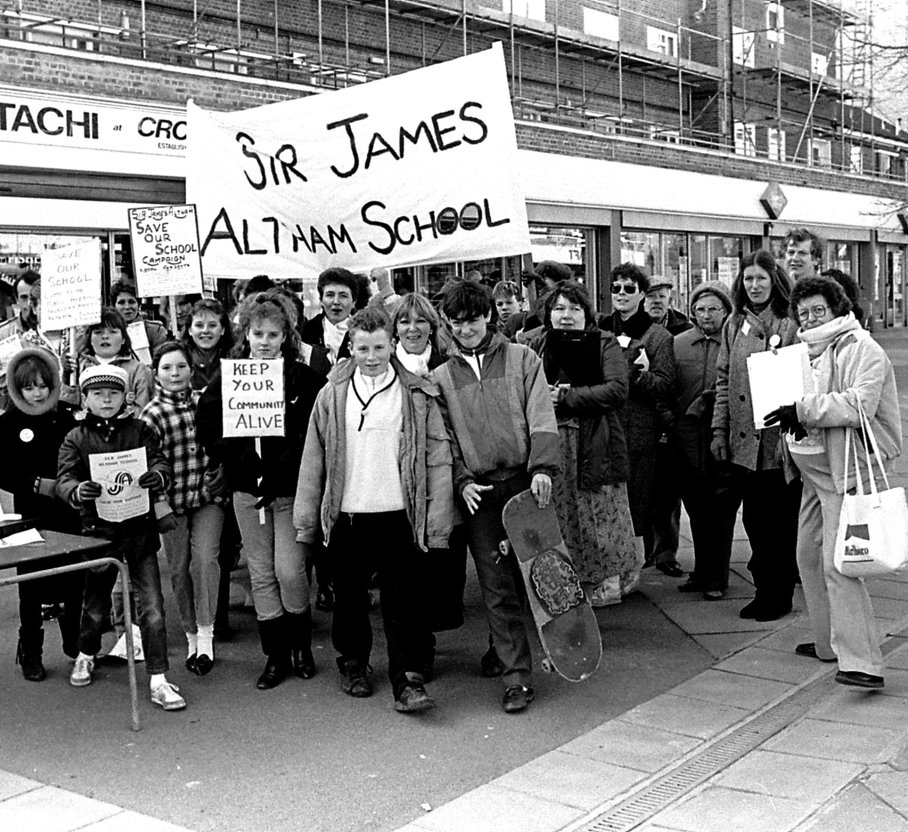 Protest over the closure of Sir James Altham School