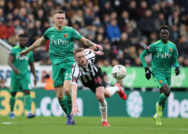 Ben Wilmot tussles with Newcastle's Sean Longstaff. Picture: Action Images