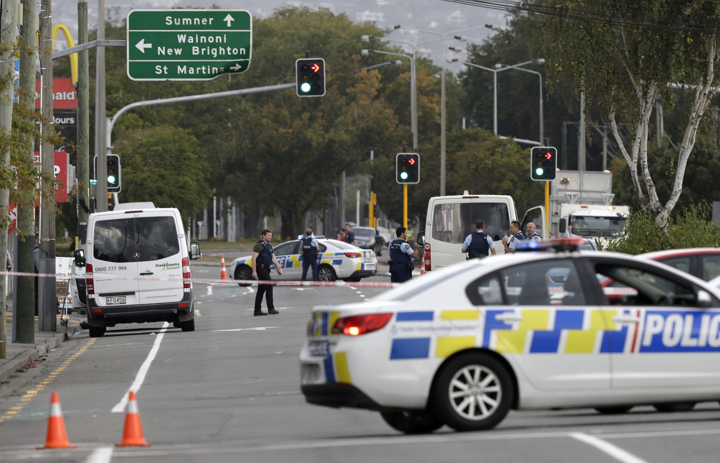 Police block the road near the shooting at a mosque in Linwood, Christchurch, New Zealand Photo: PA