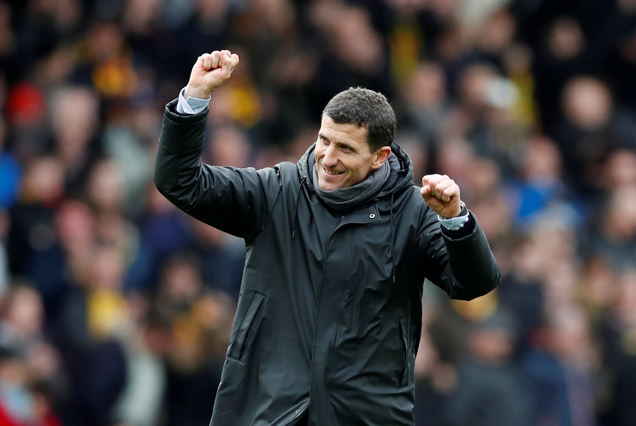 A delighted Javi Gracia celebrates at full-time. Picture: Action Images