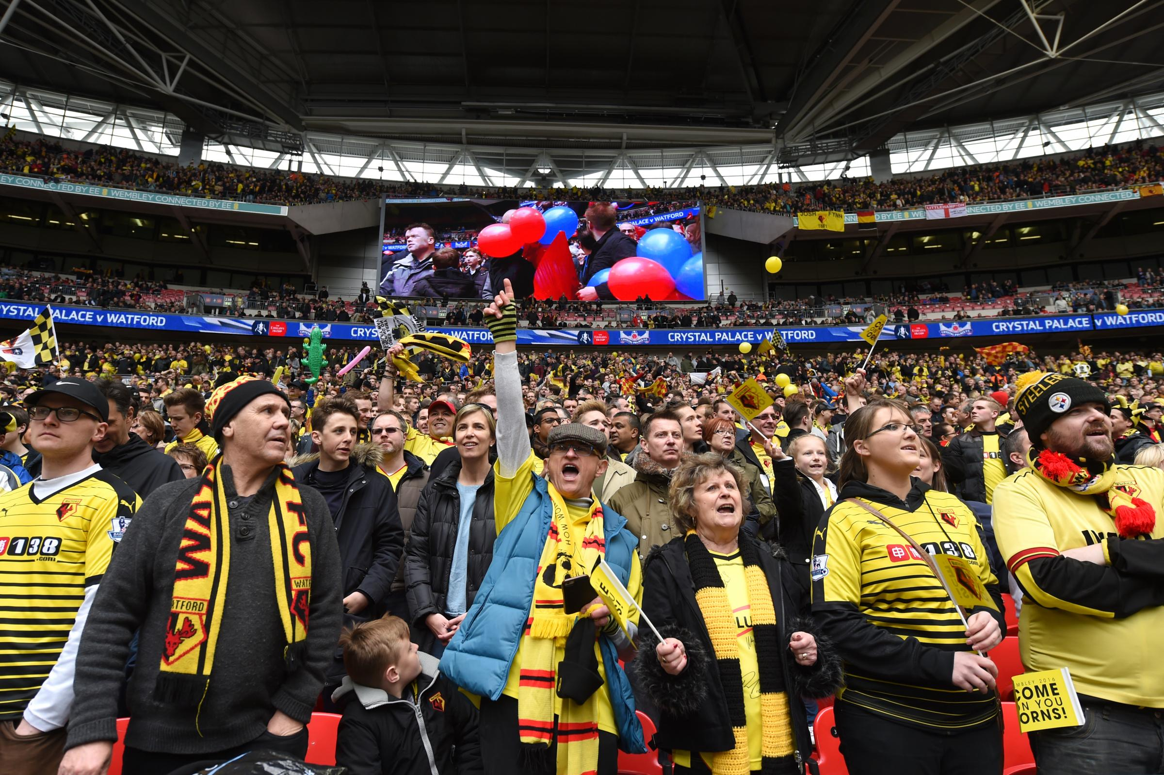 Hornets fans at Wembley in the club's last FA Cup semi-final in 2016. Picture: Action Images