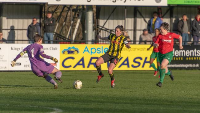 Helen Ward has a shot saved. Picture: AW Images
