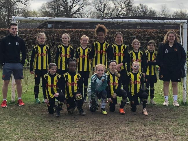 All smiles: The Under-11 Girls enjoyed their derby fixture with Watford Youth.