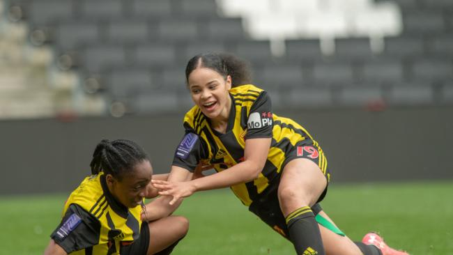 Watford Ladies celebrate a late goal against MK Dons. Picture: AW Images