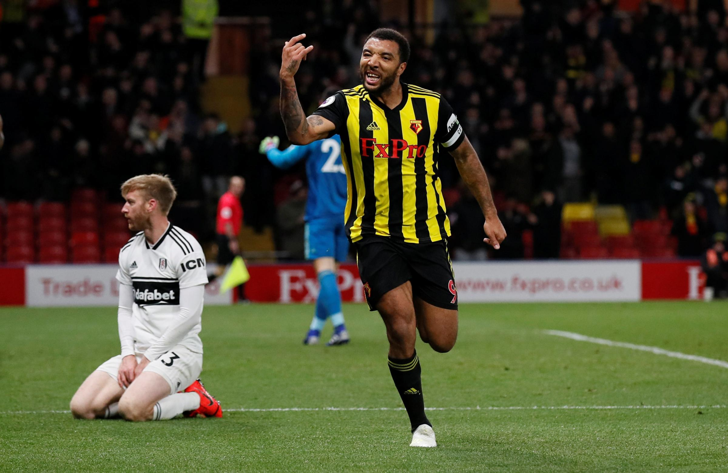 Troy Deeney celebrates scoring against Fulham. Picture: Action Images