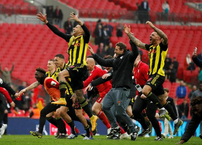 Watford FC players celebrate after going through to the FA Cup final