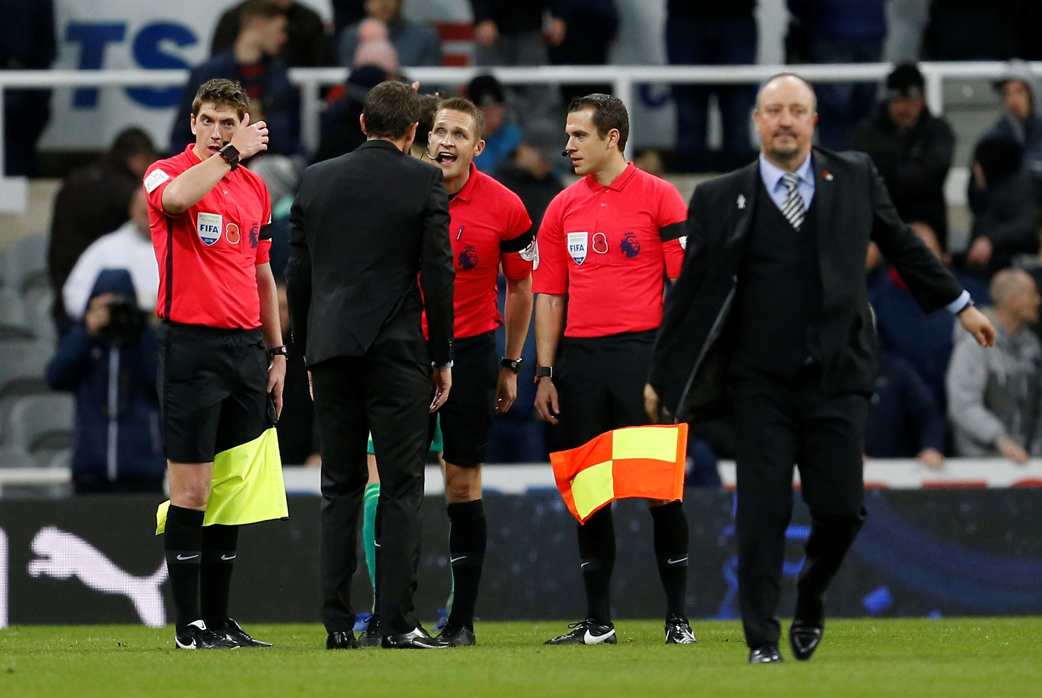 Javi Gracia argues with Craig Pawson. Picture: Action Images