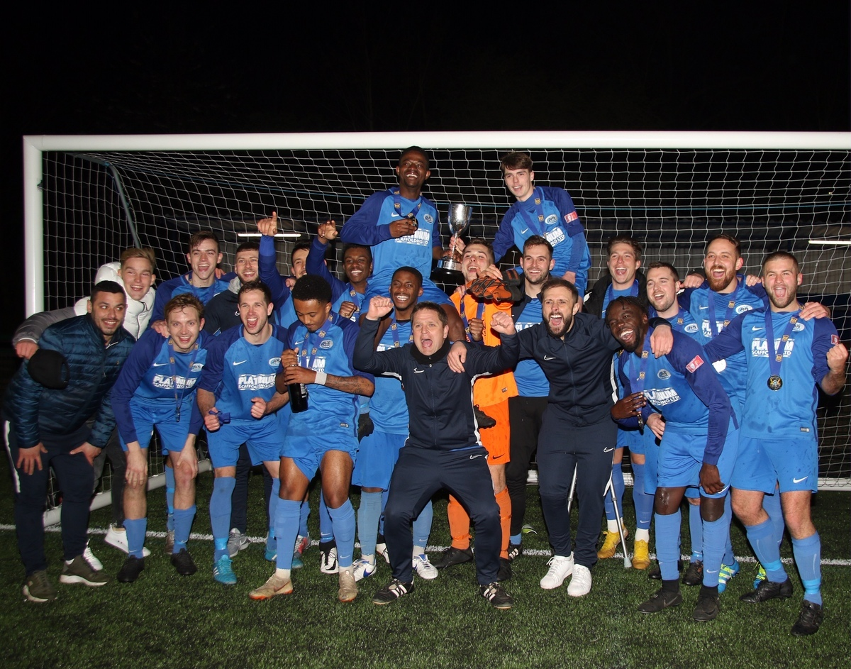 Oxhey Jets Reserves comfortably beat Royston Town Reserves to win the Herts FA Intermediate Cup. Picture: Len Kerswill