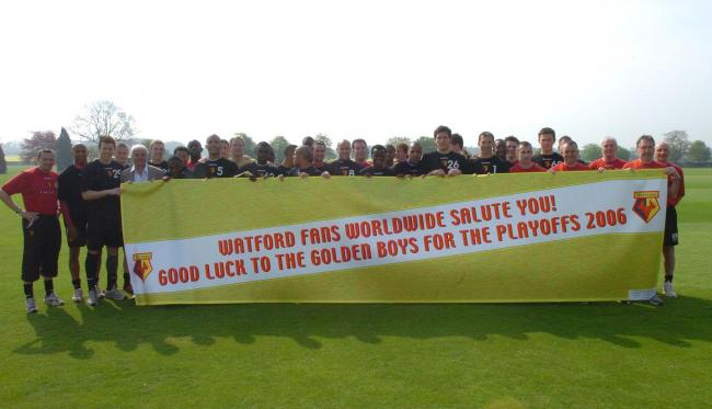 Watford were presented with a good luck banner in 2006