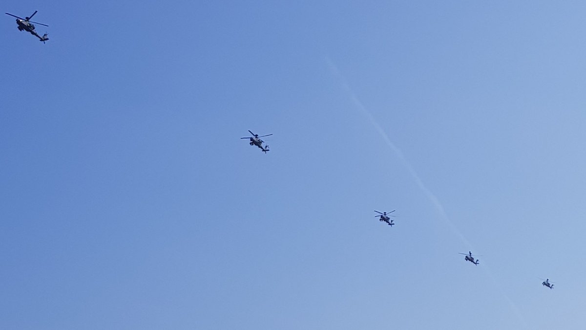 The five helicopters flew over Watford this morning. Photo credit: Cllr Asif Khan