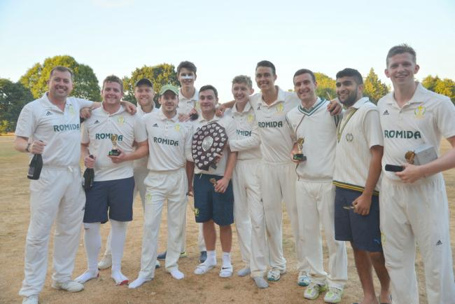 Abbots Langley celebrating their Shield triumph last year. Picture: Len Kerswill