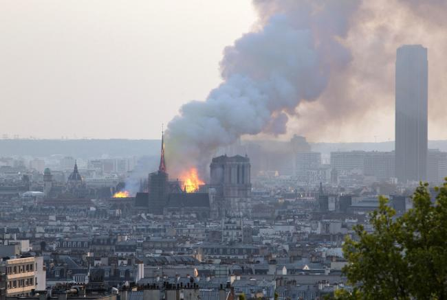 Notre Dame cathedral burning in Paris. Photo: PA
