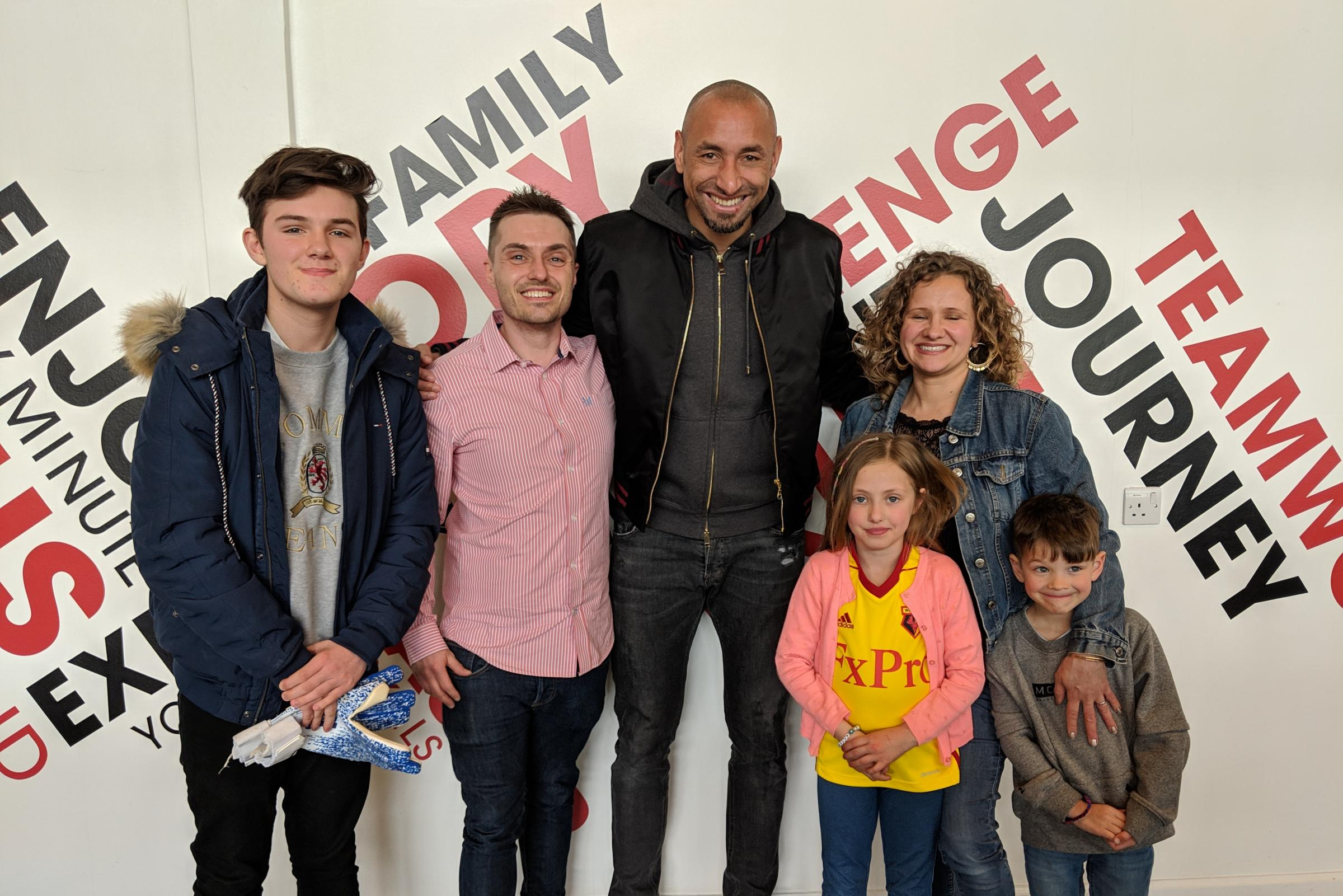 Young fans meet Watford star after he spotted their celebrations in Wembley crowd