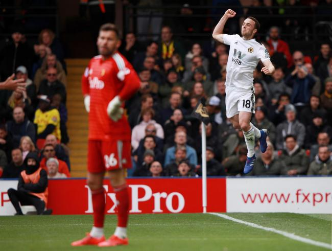 Ben Foster stands hands on hips as Diogo Jota celebrates what proved to be the winner. Picture: Action Images