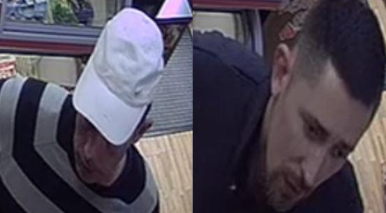 The picture of two men police wish to speak to as part of their investigation into the theft