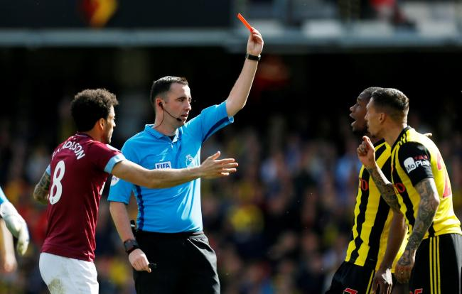 Jose Holebas is sent off by Chris Kavanagh. Picture: Action Images