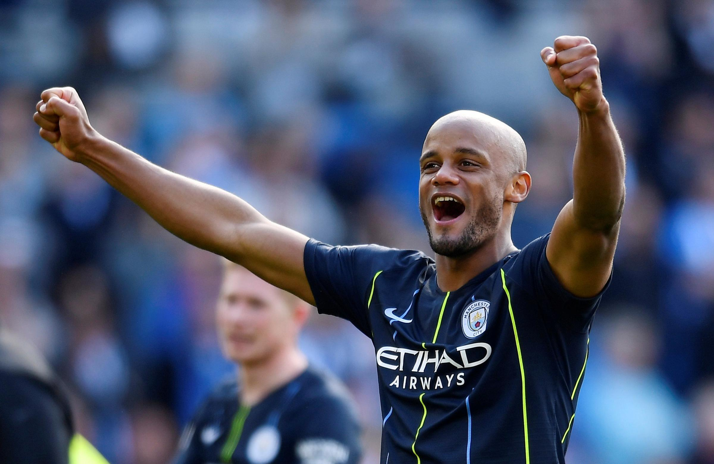 Vincent Kompany celebrates winning the Premier League. Picture: Action Images
