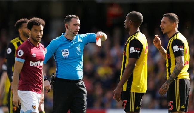 Jose Holebas  was sent off against West Ham. Picture: Action Images