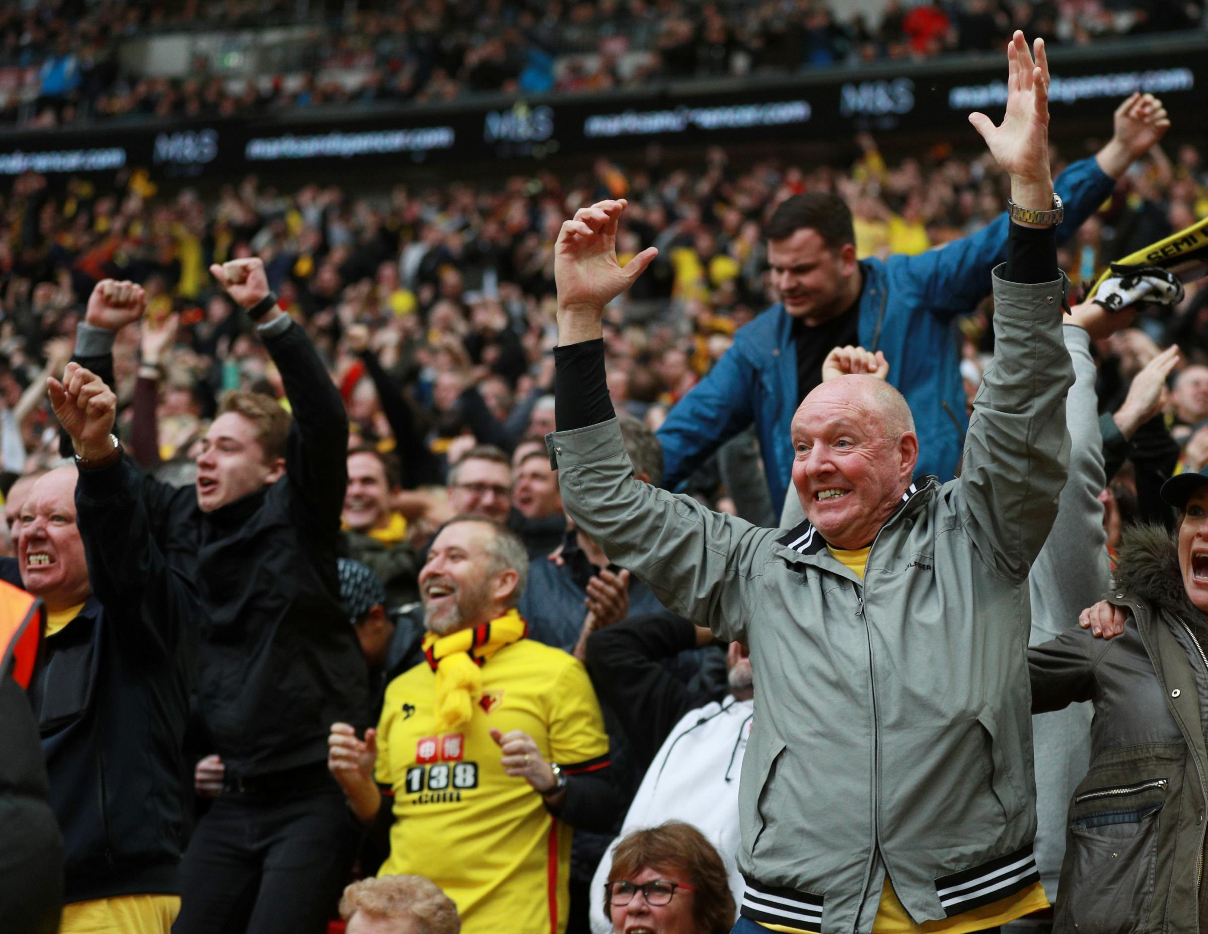 Watford fans celebrate at Wembley. Picture: Action Images