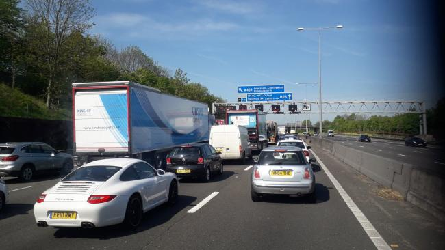 Traffic on the M25 between j19 and j18. Photo credit: Schmid Landscapes