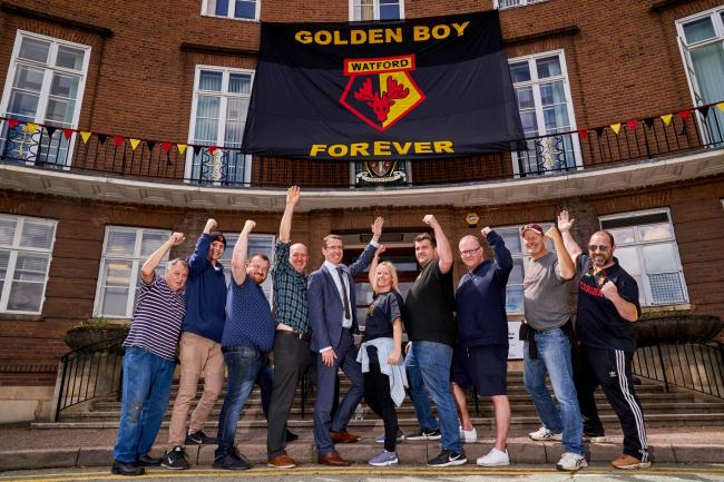 Watford FC flag at Watford Town hall ahead of their FA Cup Final appearance. Photo: Simon Jacobs