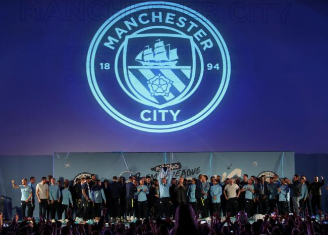 Manchester City celebrate winning the Premier League. Picture: Action Images