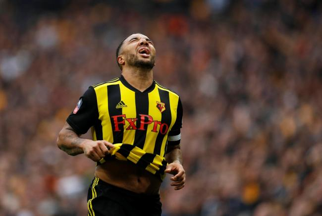 Troy Deeney celebrates in the FA Cup semi-final. Picture: Action Images