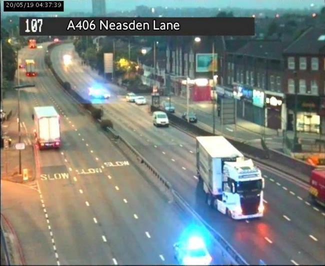 The police closure on the A406 in Neasden. Photo credit: TfL
