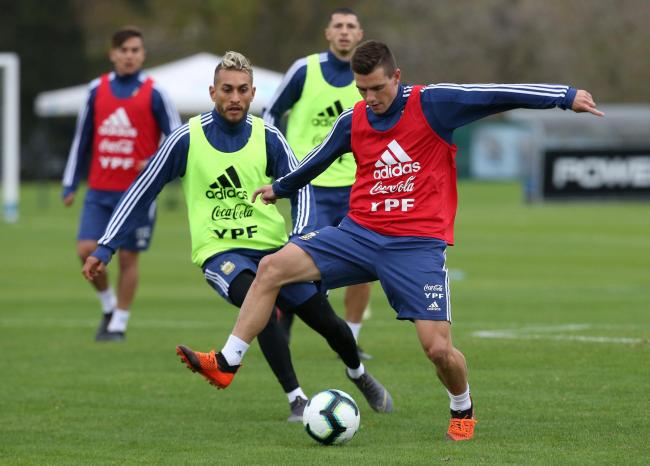 Roberto Pereyra in training with Giovani Lo Celso. Picture: Action Images